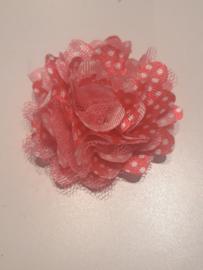 Chiffon bloem met tule licht roze met dots