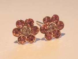 Zilveren oorbellen bloemetjes met steentjes