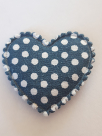 Hartjes blauw grijs polkadot