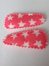 35 hoesjes katoen neon roze met witte sterren