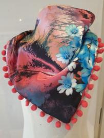 Sjaal maat s roze bloemen met meloen bolletjes rand