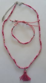 Ketting armaband set met kwast in roze