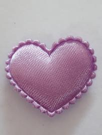 Hartjes satijn fuchia lila 20 mm