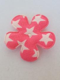 Bloem 2.5 cm neon roze met ster