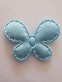Vlinder 25 x 20 mm satijnen blauw