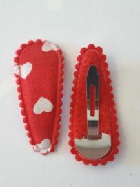 Rood met hartjes hoesje 35 mm met klik klak speldje