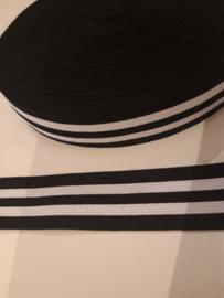 Elastiek zwart wit 2.5 cm