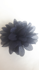 Haar bloem 7cm glitter navy