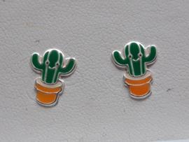 Zilveren oorbellen Cactus