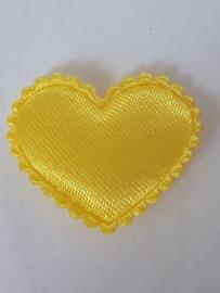 Hartjes satijn citroen geel 20 mm