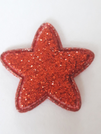 Ster applicatie 25 mm glitter rood