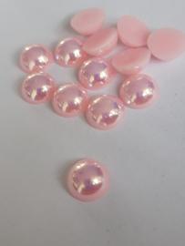 Flatbacks 10 mm parelmoer licht roze