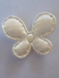 Vlinder 25 x 20 mm satijnen creme