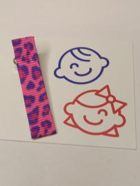 Roze tijgerprint 5 cm alligator met anti slip