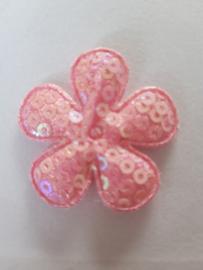 Bloem 3.5 cm roze pailletten