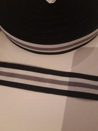 Elastiek zwart wit grijs 2.5 cm