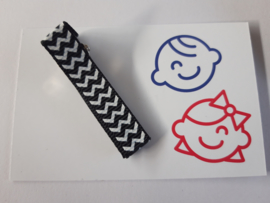 Zwart wit zigzag  5 cm alligator met anti slip