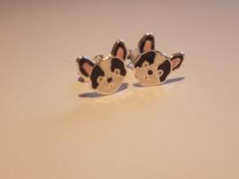 Zilveren oorbellen hondjes zwart wit