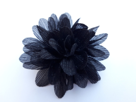 Haar bloem 7cm glitter zwart
