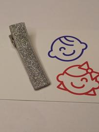 Zilver glitter 5 cm alligator met anti slip