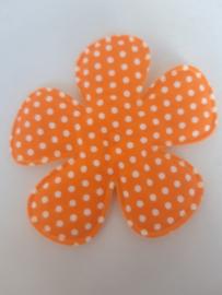 Bloem 7.5 cm oranje polkadot katoen