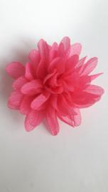 Haar bloem 7cm glitter roze