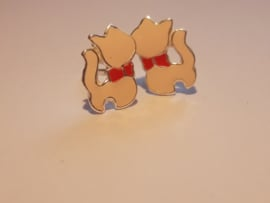 Zilveren oorbellen poesjes roze