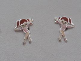 Zilveren oorbellen Ballerina
