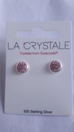 oorbellen rond met roze steentjes