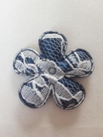 Bloem 3.5 cm donker blauw kant