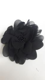 Haarbloem 11 cm zwart met midden kraal