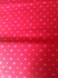 Rood met roze sterren