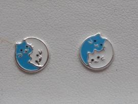 Zilveren oorbellen Poezen ying yang