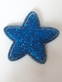 Ster applicatie 25 mm glitter donker blauw