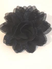 Chiffon bloem zwart glitter