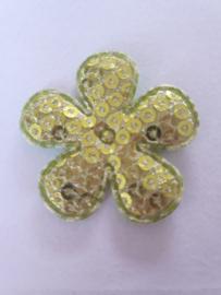 Bloem 3.5 cm groen pailletten