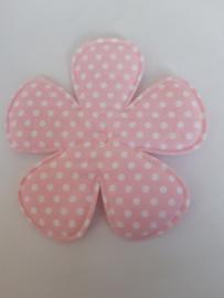 Bloem 7.5 cm roze stippen katoen