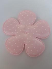 Bloem 6.5 cm roze stippen satijn