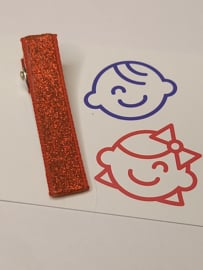 Rood glitter 5 cm alligator met anti slip
