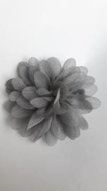 Haar bloem 7cm glitter grijs