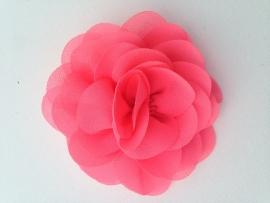 Haar roos 9 cm neon roze