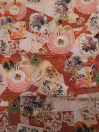 Katoen 150 x 75 cm roze hertjes