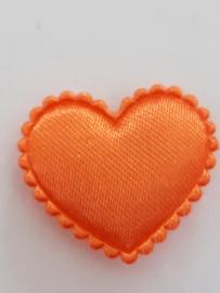 Hartjes satijn oranje 20 mm