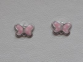 Zilveren oorbellen Vlinders in roze