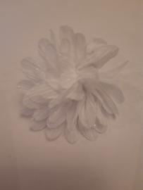 Haar bloem 7cm glitter wit