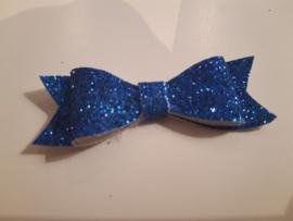 Strik zonder clip royale blauw glitter