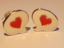 Zilveren oorbellen hartje met spraak wolkje