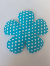 Bloem 7.5 cm blauw polkadot katoen
