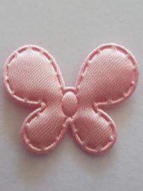 Vlinder 25 x 20 mm satijnen roze