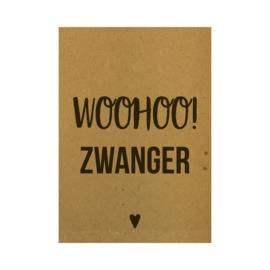Ansichtkaart - Woohoo! Zwanger